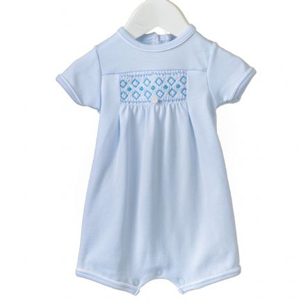 Blue Smocked Shortie Romper